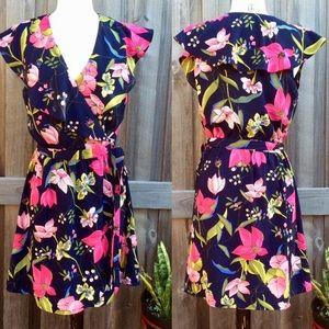 Gianni Bini Navy Floral Wrap Dress